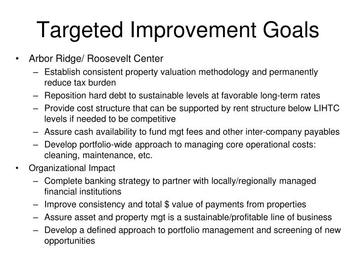 Targeted Improvement Goals