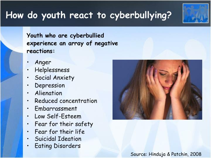 How do youth react to cyberbullying?