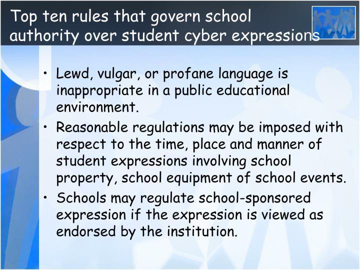 Top ten rules that govern school