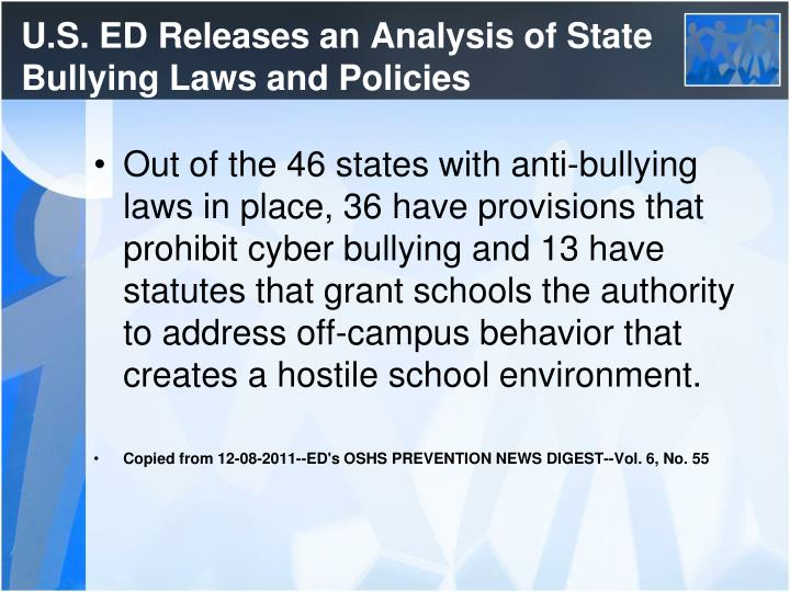 U.S. ED Releases an Analysis of State Bullying Laws and Policies