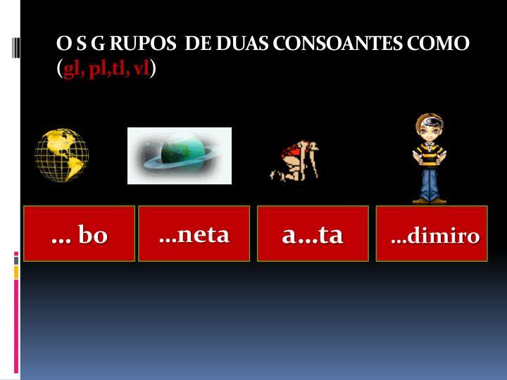 O S G RUPOS  DE DUAS CONSOANTES COMO (