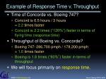 example of response time v throughput
