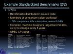 example standardized benchmarks 2 2