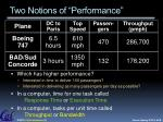 two notions of performance