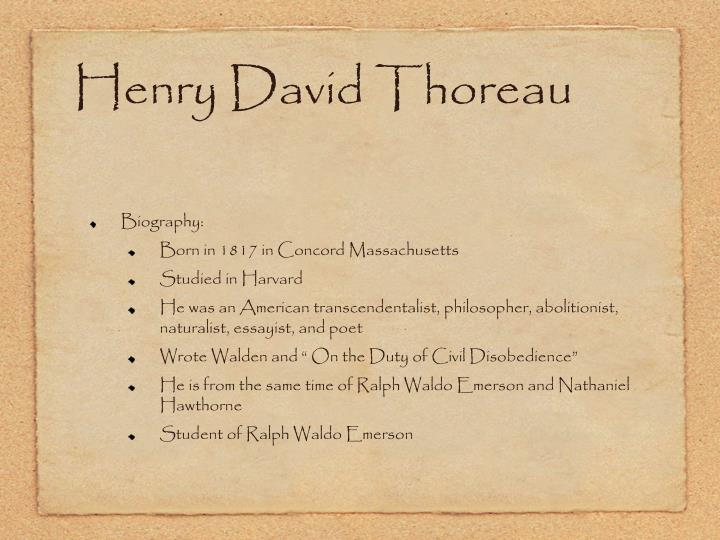 a short biography of henry david thoreau a great american author and philosopher Henry david thoreau (july 12, 1817 – may 6, 1862) was an american author, poet, philosopher, and leading transcendentalist he also took an.