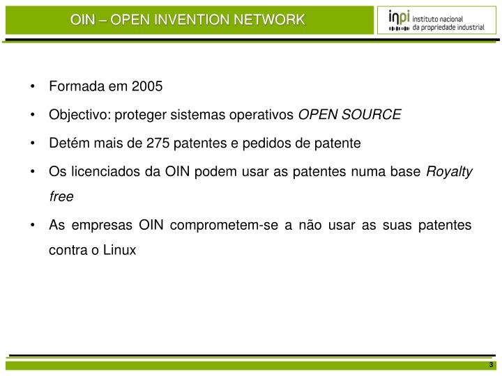 OIN – OPEN INVENTION NETWORK