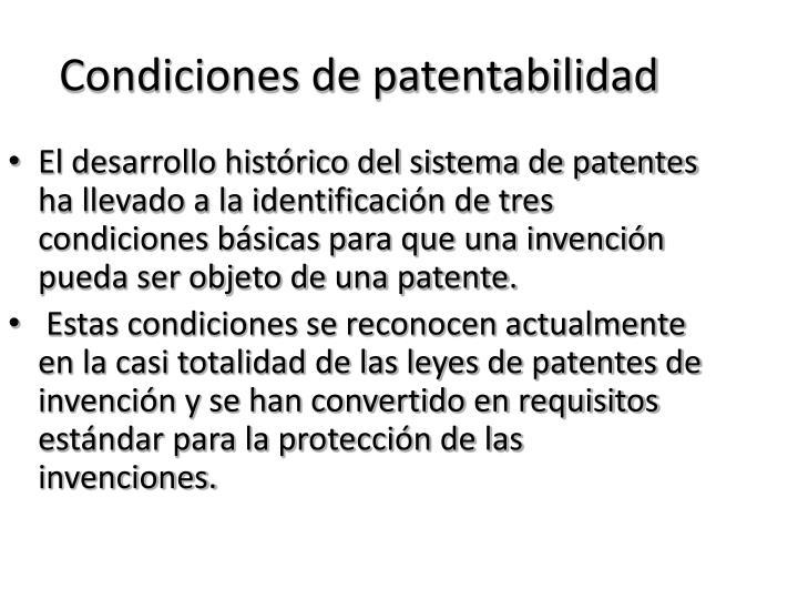 Condiciones de patentabilidad