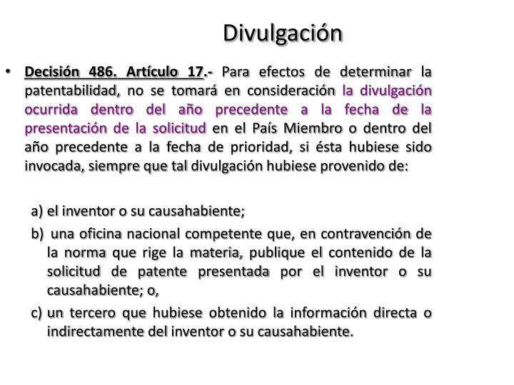Decisión 486. Artículo17