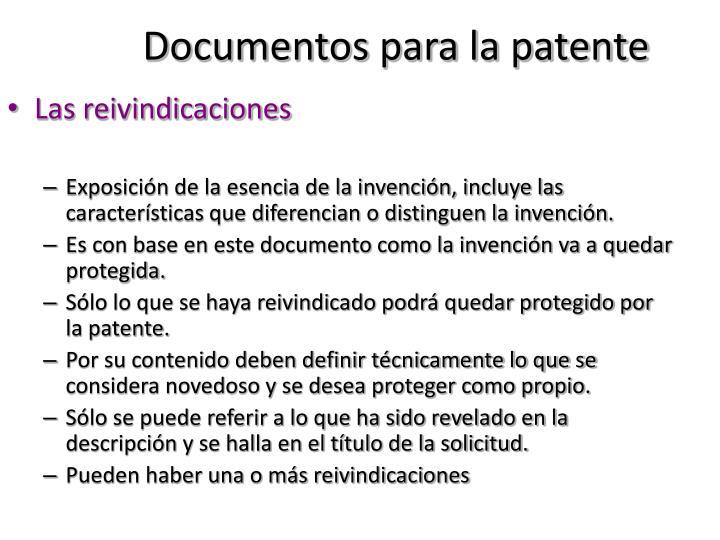 Documentos para la patente