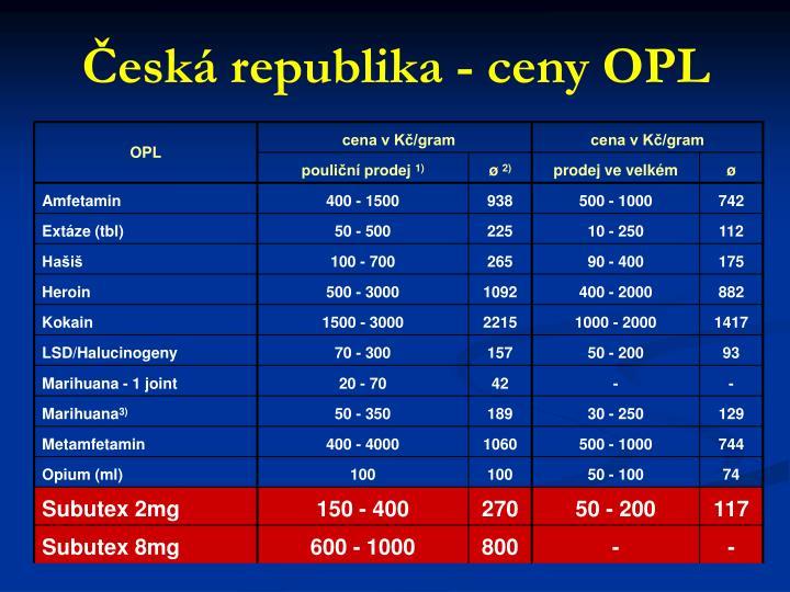 Česká republika - ceny OPL