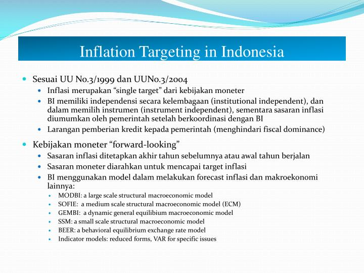 Inflation Targeting in Indonesia
