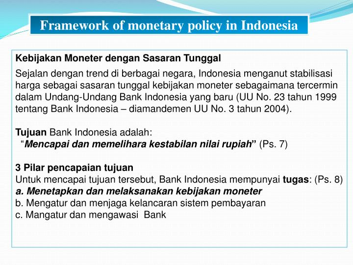 Framework of monetary policy in Indonesia