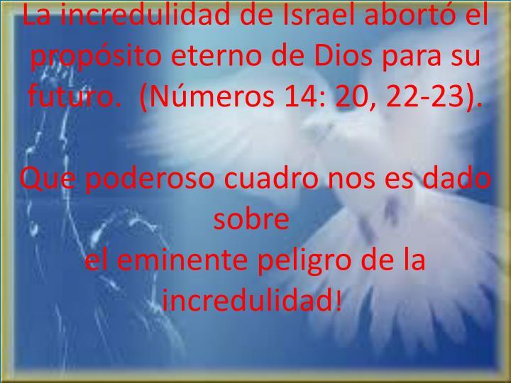 La incredulidad de Israel abortó el propósito eterno de Dios para su futuro