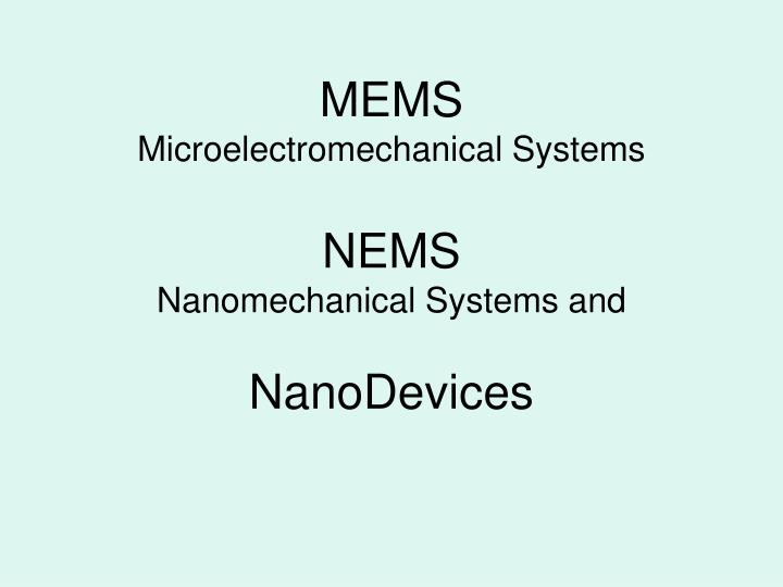 microelectromechanical systems