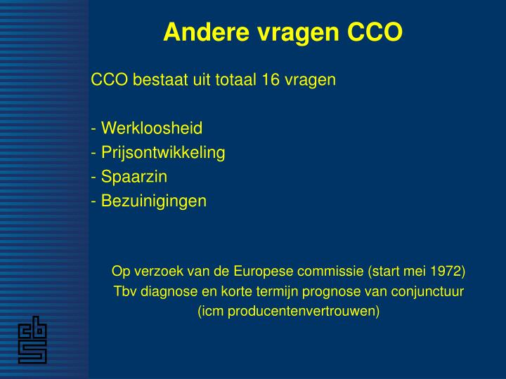 Andere vragen CCO