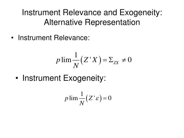 Instrument Relevance and Exogeneity: Alternative Representation