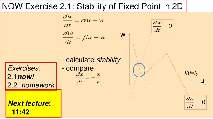 NOW Exercise 2.1: Stability of Fixed Point in 2D