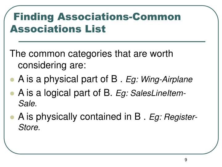 Finding Associations-Common Associations List