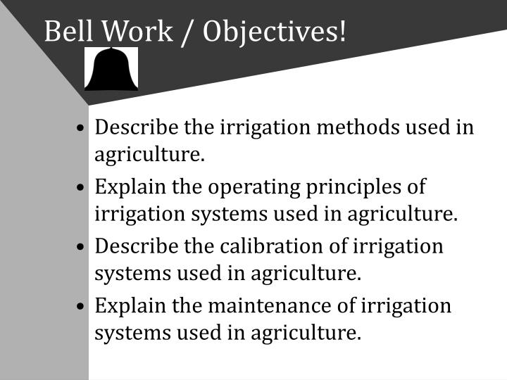 Bell work objectives