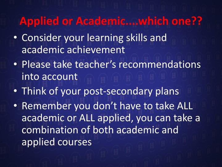Applied or Academic....which one??