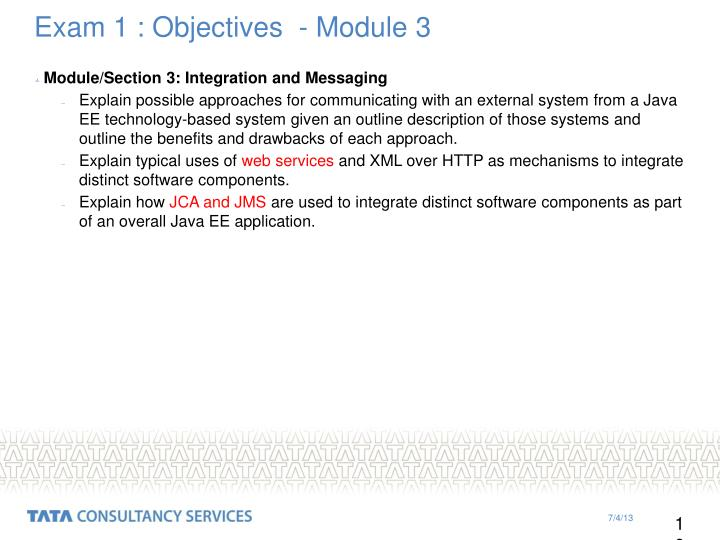 Exam 1 : Objectives  - Module 3