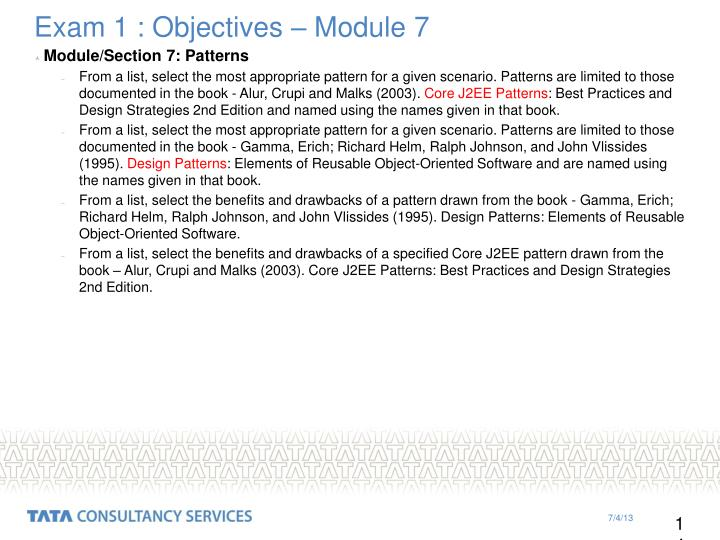 Exam 1 : Objectives – Module 7