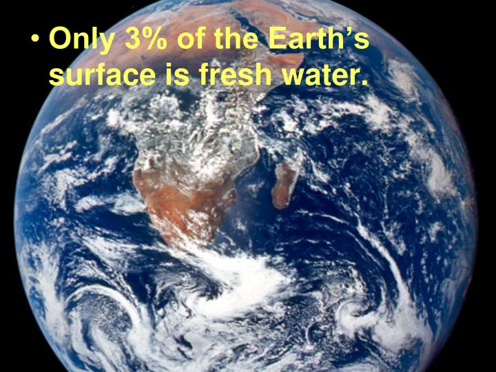 Only 3% of the Earth's surface is fresh water.