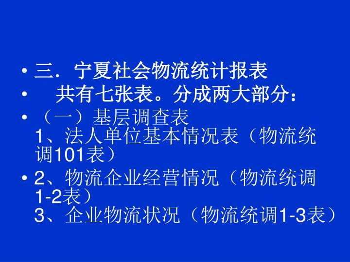 三.宁夏社会物流统计报表