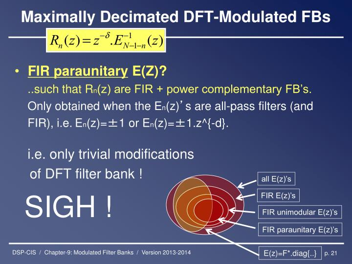 Maximally Decimated DFT-Modulated FBs