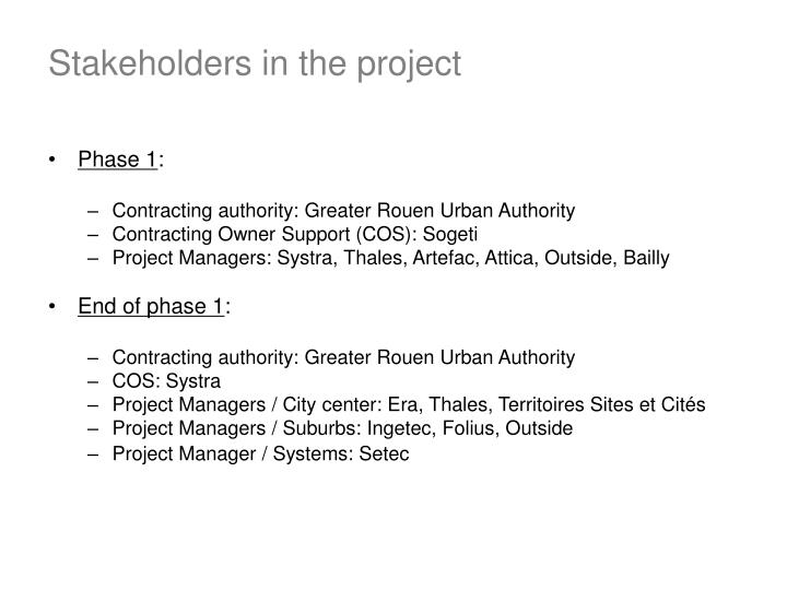 Stakeholders in the project