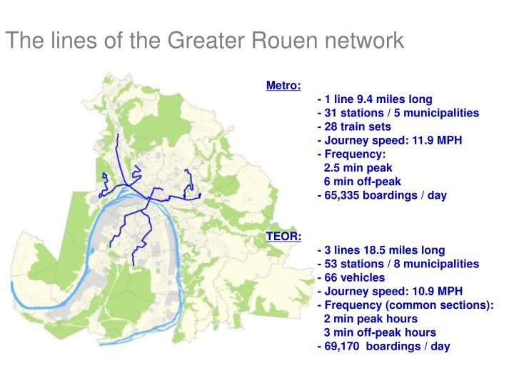 The lines of the Greater Rouen network