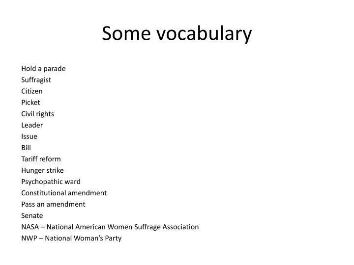 Some vocabulary