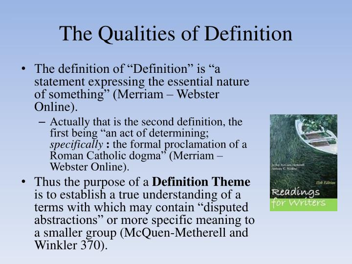 The qualities of definition