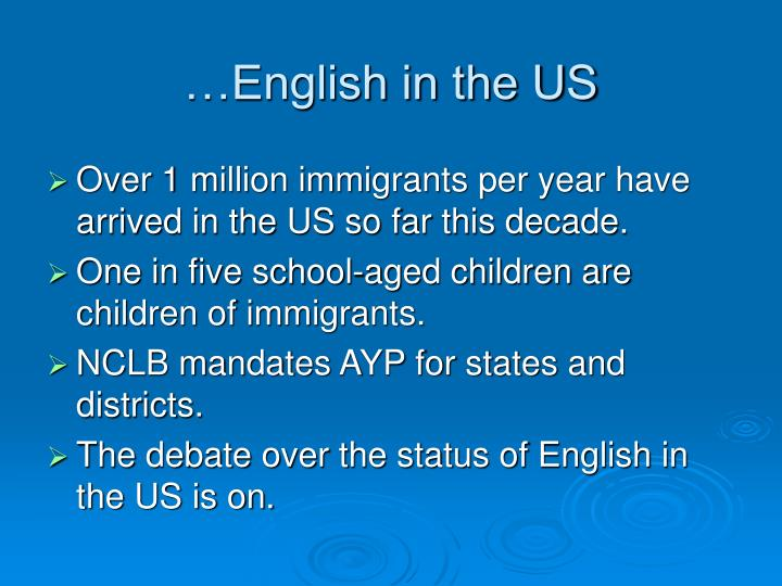 …English in the US