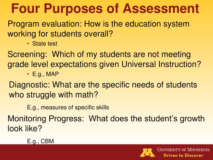 Four Purposes of Assessment