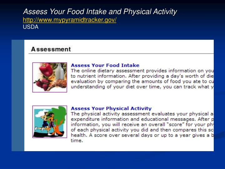 Assess Your Food Intake and Physical Activity