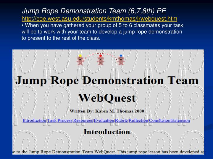 Jump Rope Demonstration Team (6,7,8th) PE