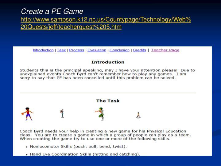 Create a PE Game