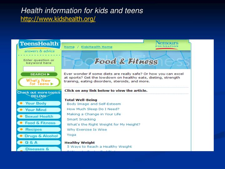 Health information for kids and teens