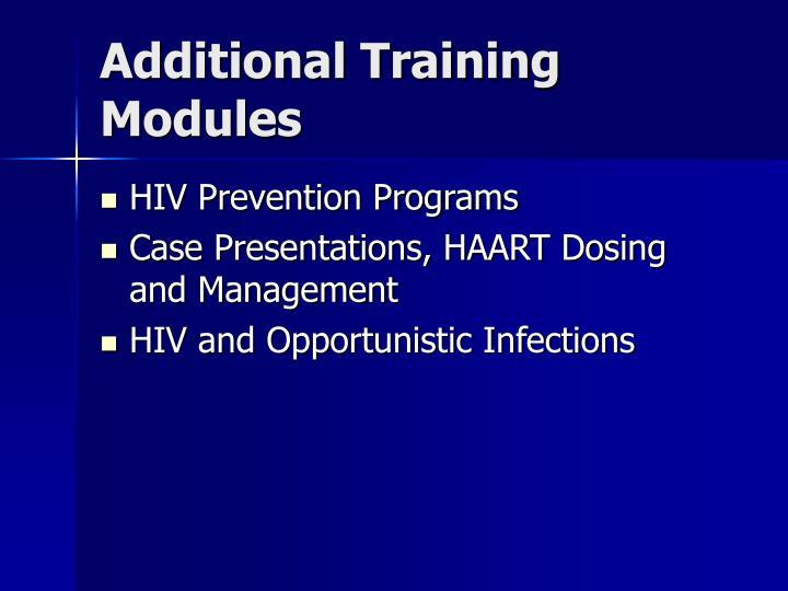 Additional Training Modules