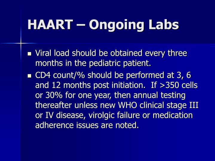 HAART – Ongoing Labs