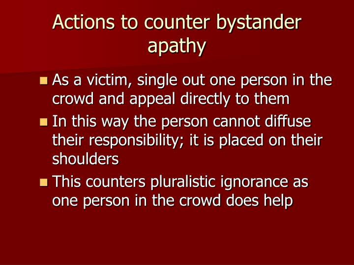 bystander effect diffusion of responsibility This page will contain information as it comes to hand on the phenomenon of the bystander effect we will post (1968) bystander intervention in emergencies: diffusion of recent studies have demonstrated the effect of diffusion of responsibility on peoples' helping.