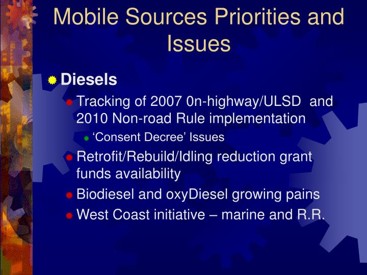 Mobile sources priorities and issues
