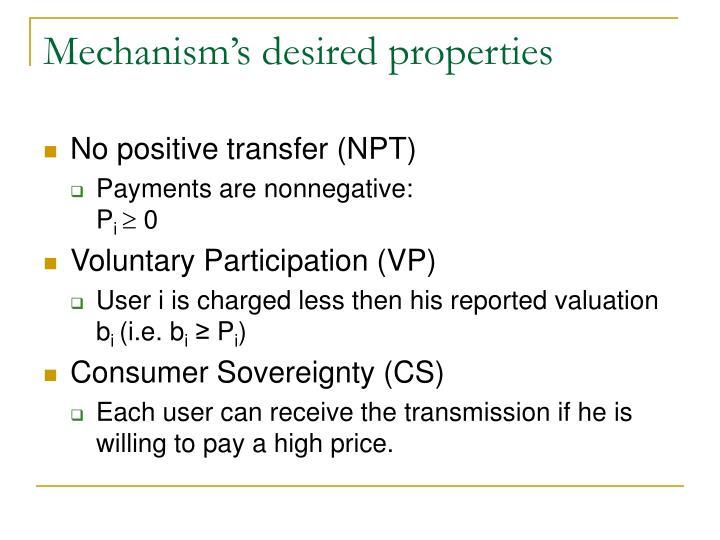 Mechanism's desired properties