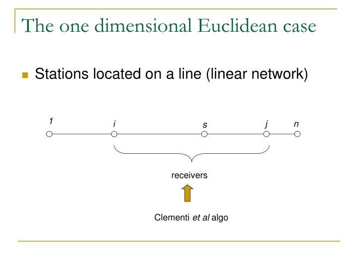 The one dimensional Euclidean case