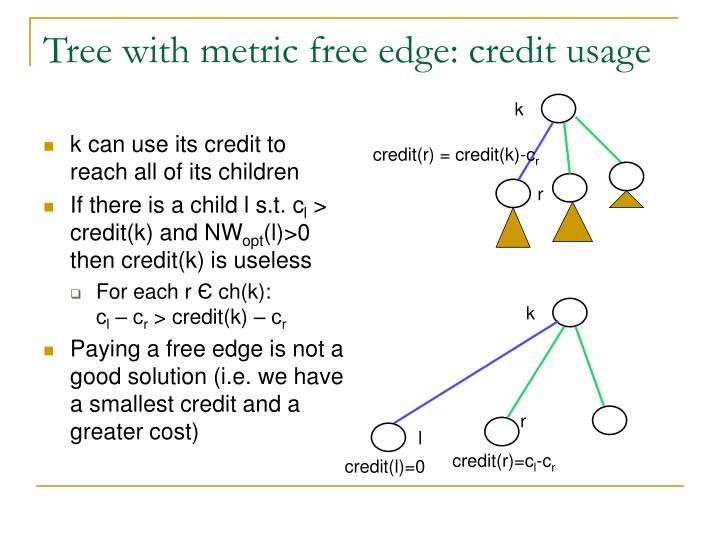 Tree with metric free edge: credit usage