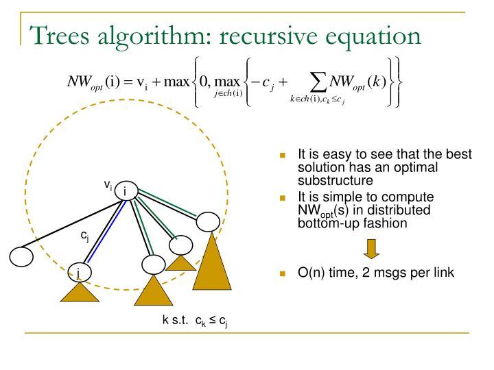 Trees algorithm: recursive equation