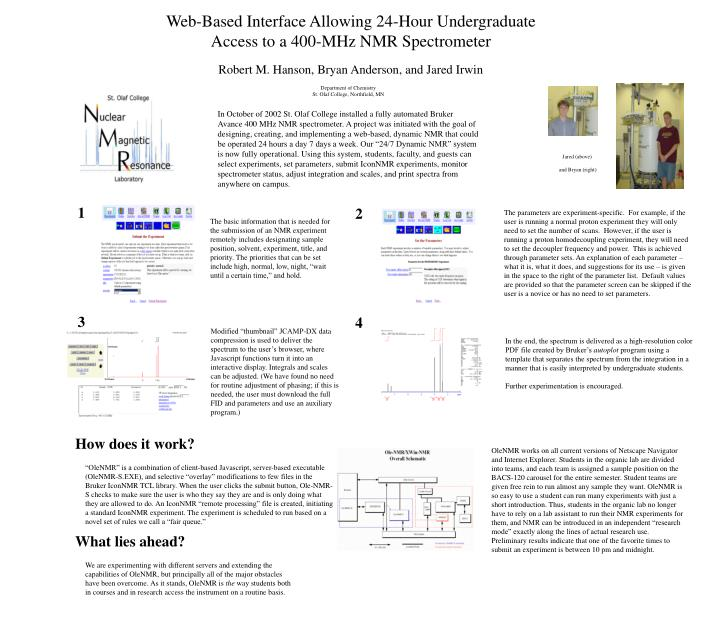 web based interface allowing 24 hour undergraduate access to a 400 mhz nmr spectrometer n.
