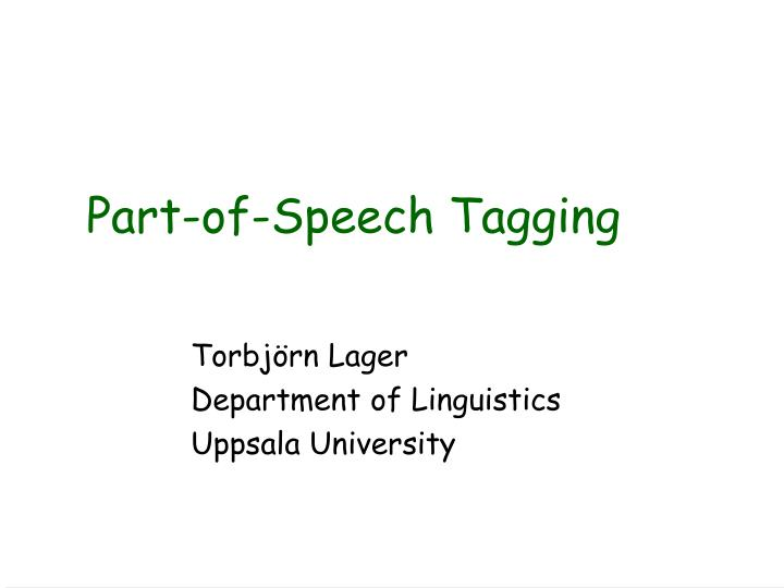 part of speech tagging n.