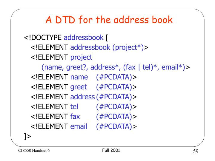 A DTD for the address book